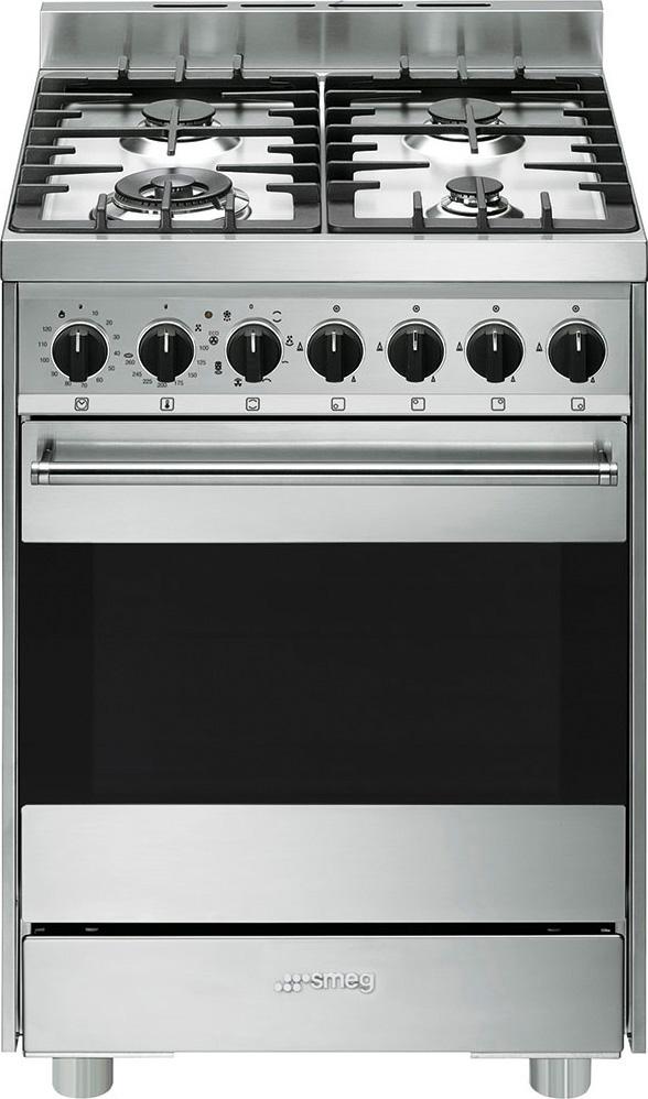 Smeg Cucina a Gas 4 Fuochi Forno Elettrico Ventilato Grill 60x60 cm B6GMXI9