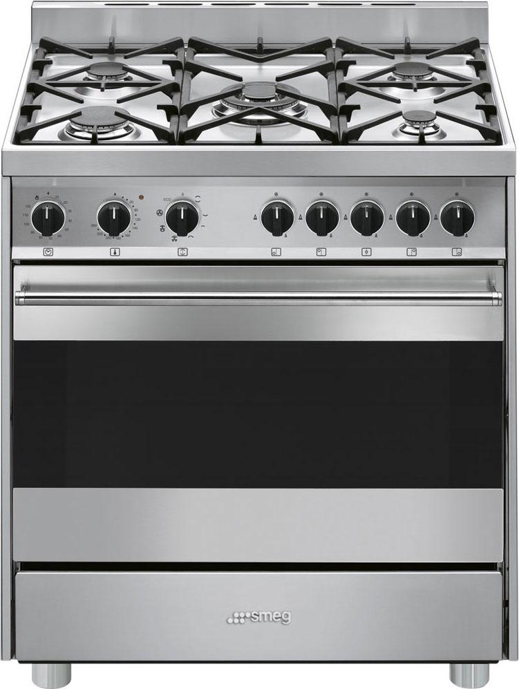 Smeg Cucina a Gas 5 Fuochi Forno Elettrico Ventilato Multifunzione ...