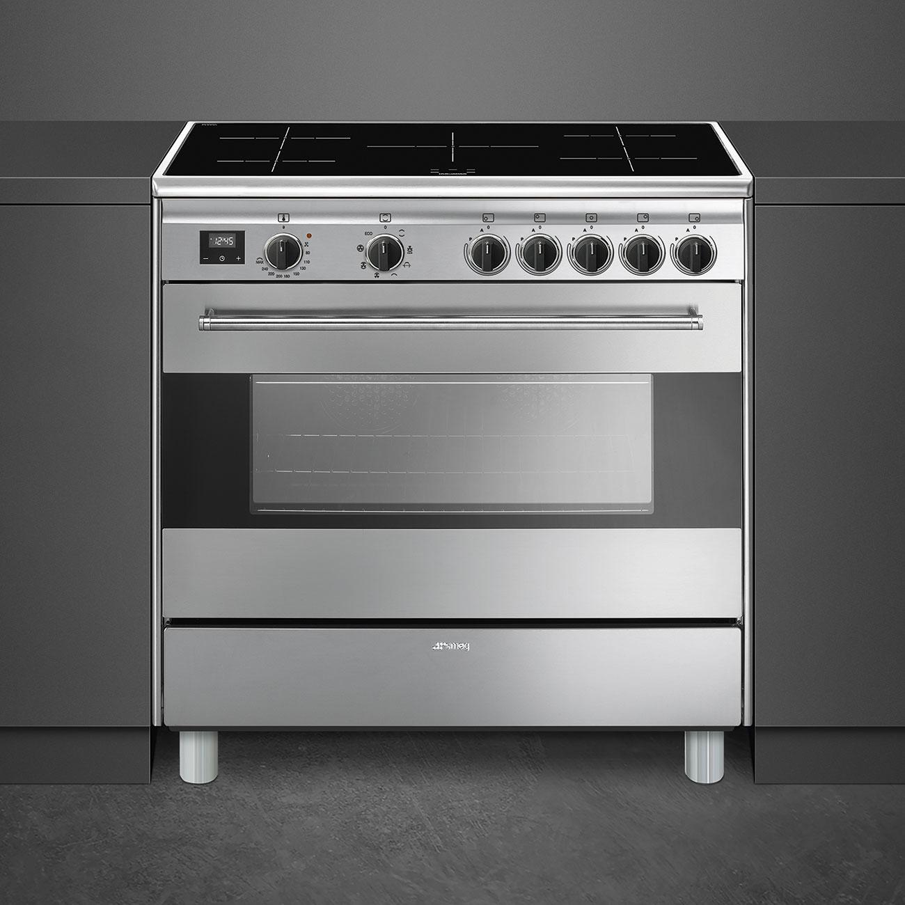 Cucina a Induzione 4 Fuochi Forno Elettrico con Grill LxP 90x60 cm Classe  energetica A colore Inox - BG91IX9-1