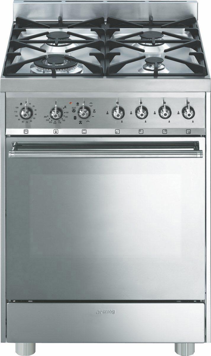 Smeg Cucina a Gas 4 Fuochi Forno Elettrico Multifunzione Ventilato ...