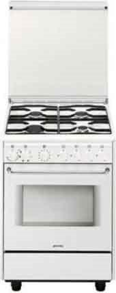 Smeg cucina a gas 4 fuochi forno elettrico ventilato con grill larghezza x profondit 60x60 cm - Cucina con forno ventilato ...
