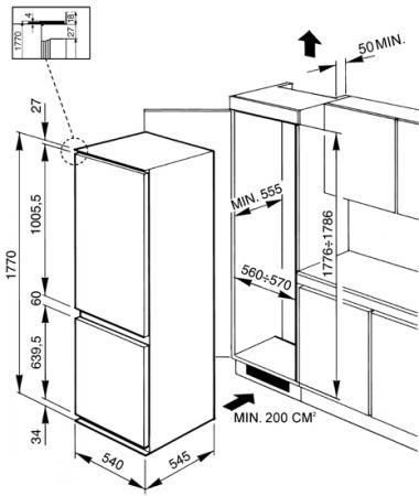 Frigorifero da Incasso Combinato Capacità 282 litri Classe energetica A+  Raffreddamento Ventilato con congelatore No Frost - CR324PNF