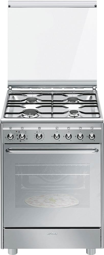 Smeg Cucina a Gas 4 Fuochi con Forno Elettrico Ventilato con Grill ...