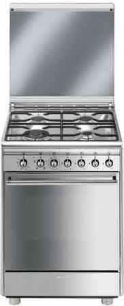 Smeg cucina a gas 4 fuochi forno a gas ventilato con grill larghezza x profondit 60x60 cm - Cucina con forno ventilato ...