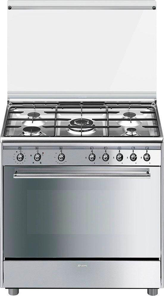 Smeg cucina a gas 5 fuochi forno a gas ventilato con grill larghezza x profondit 90x60 cm - Cucina con forno a gas ventilato ...