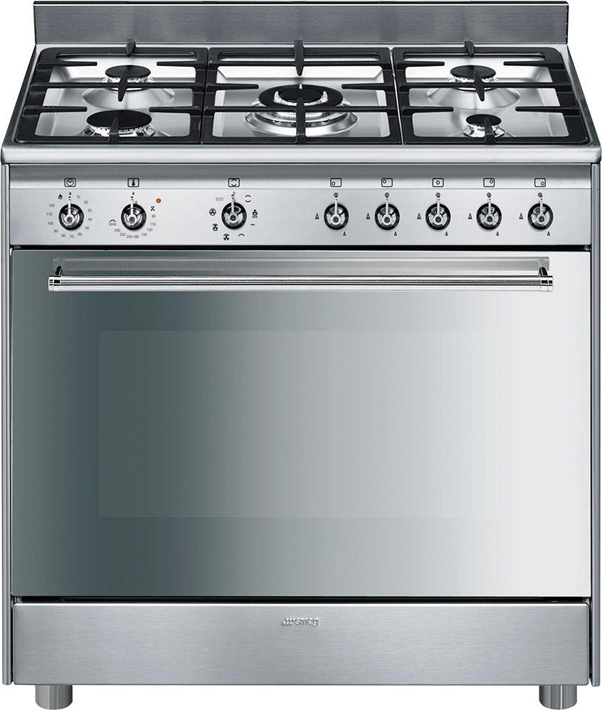 Smeg Cucina a gas 5 Fuochi Forno elettrico Ventilato con Grill ...