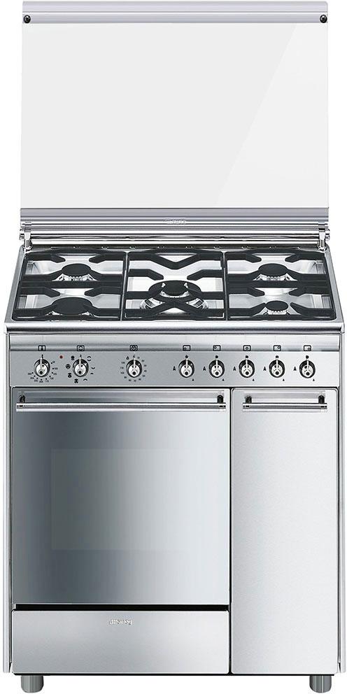Smeg cucina a gas 5 fuochi forno elettrico multifunzione con grill larghezza x profondit 80x50 - Cucina a gas smeg ...