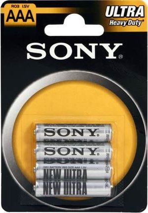 Sony Blister n° 4 Batterie AAA  R03 1,5 V Zinco Carbone R03NUB4A