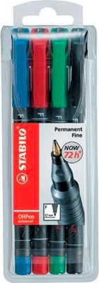 Stabilo 8424 OHPen universal permanent 4 Pack Blu Verde Rosso 4 pz