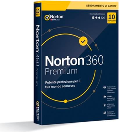Symantec 21397805 Internet Security 10 Dev 1 Anno 2020 75Gb Norton 360 Premium