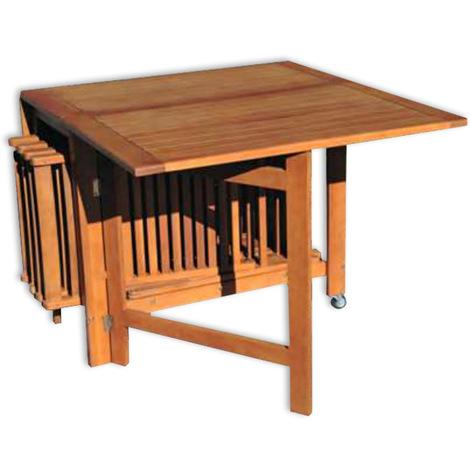 Tavolo e sedie da giardino in legno praiano arredo - Tavolo esterno pieghevole ...