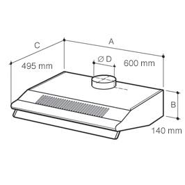 Cappa Vortice VORTEX 60-B - 20021 - Cappa cucina 60 cm aspirante da ...