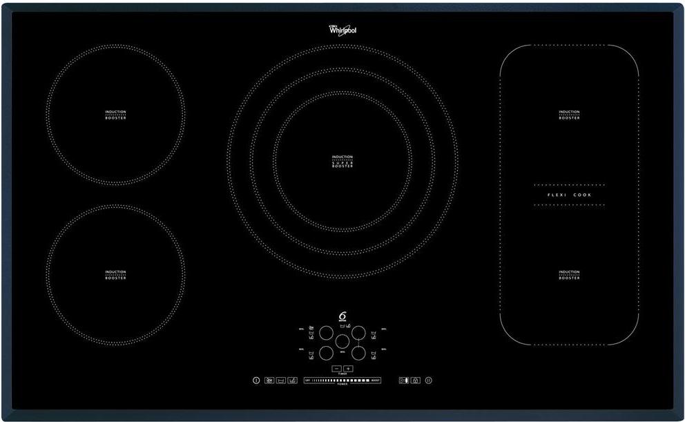 Piano cottura Induzione Elettrico 5 Fuochi da Incasso Larghezza 90 cm  Tecnologia Sesto Senso / FlexiCook in Vetroceramica colore Nero - ACM 795/BA