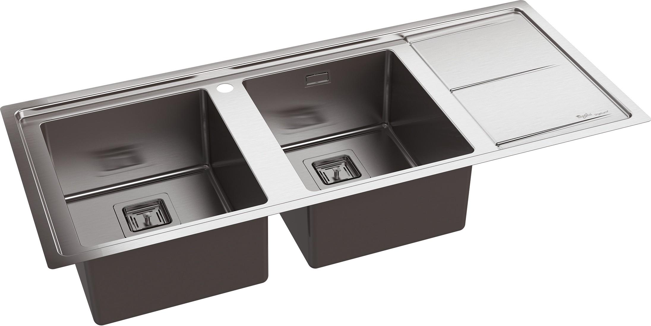 Whirlpool lavello cucina incasso 2 vasche con gocciolatoio dx larghezza 120 cm materiale e - Lavello cucina incasso ...