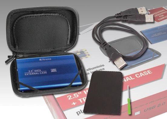 "Xtreme Case Hard Disk Kit Box Hard Disk 2.5"" con Cavetto USB + Travel Bag 29003"