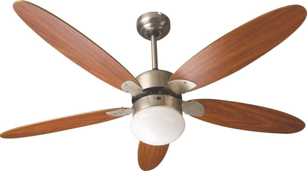 Zephir ventilatore da soffitto con luce 5 pale con for Lampadario a pale brico