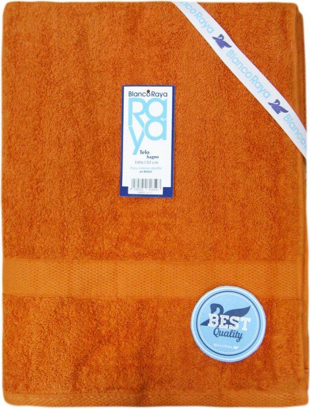Blanco Raya Asciugamano in Spugna Cotone Telo Doccia 100x150 cm Arancione 80420
