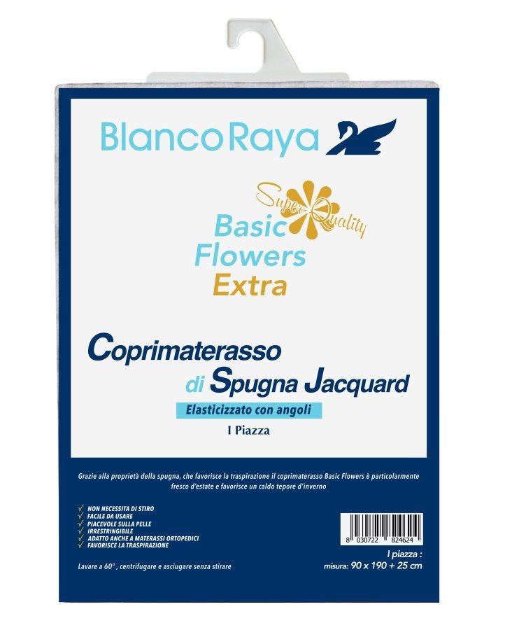 Blanco Raya Coprimaterasso Traspirante Una Piazza e Mezza Angoli Elasticizzati BFE12