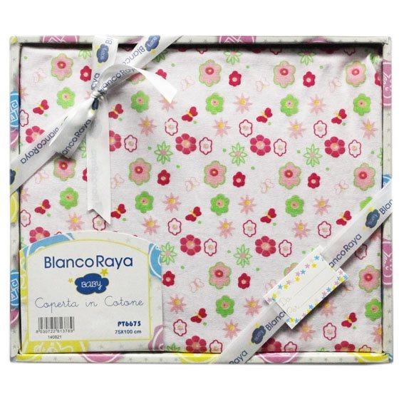 Blanco Raya Copertina Neonato Cotone Culla Carrozzina Plaid 74x100 cm Fiore PT6675