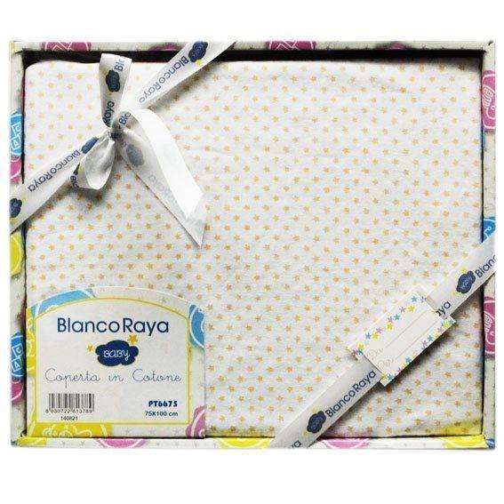 Blanco Raya Copertina Neonato Cotone Culla Carrozzina Plaid 74x100 cm Stella PT6675