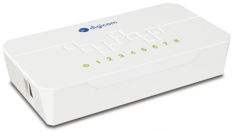 Digicom Switch Rete Ethernet 8 porte 10100 100 Mbps col Bianco 8E4590 SWF08-T02