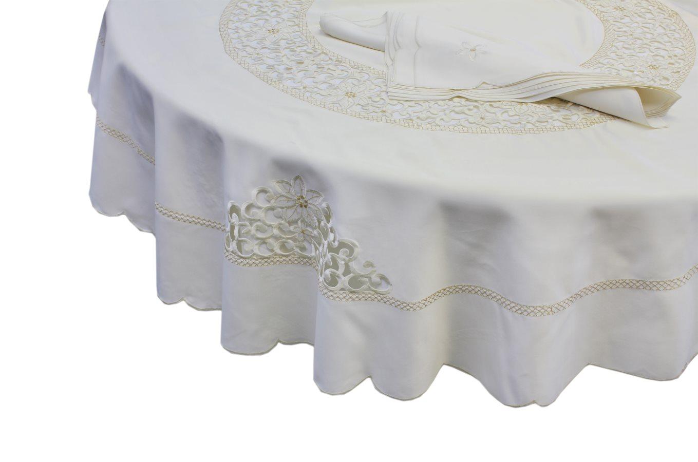 Elite Tovaglia Natalizia Ricamata 6 posti 140x180cm 6 Tovaglioli Bianco 07HF2109
