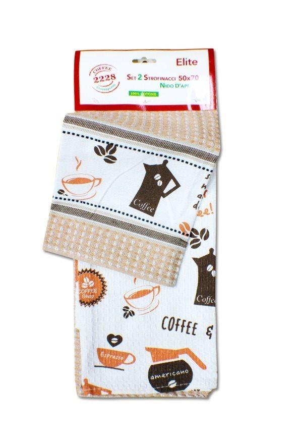 Elite Asciugamano Cucina Set 2 Strofinacci Cotone Nido dApe 50x70 cm 22281