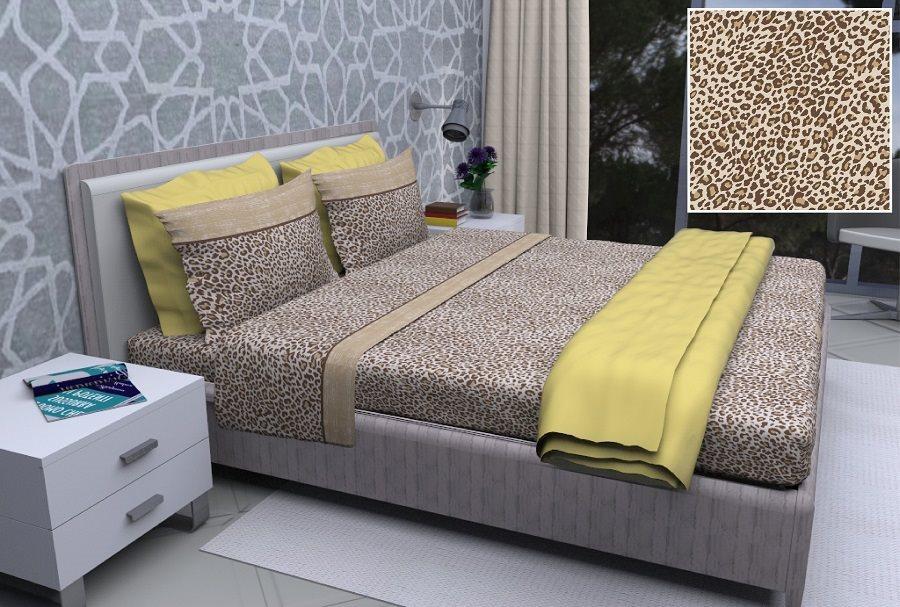 Elite Completo Lenzuola Matrimoniali Cotone SopraSottoFedere Safari Leopop
