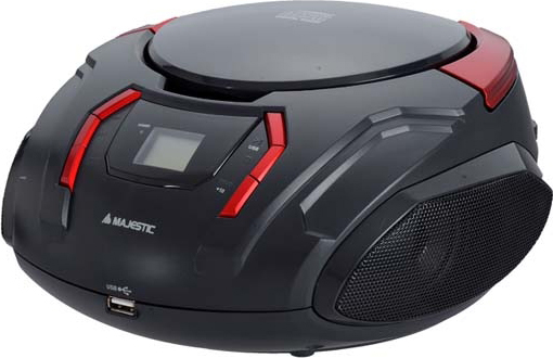 NEW MAJESTIC Radio Stereo Portatile Boombox CD Mp3 Aux USB Radio AH225BKRD