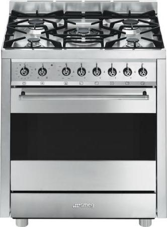Smeg cucina a gas 5 fuochi forno a gas multifunzione ventilato con grill larghezza x profondit - Cucina a gas smeg ...