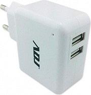 ADJ 110-00072 Alimentatore Universale 2 Porte USB per Smartphone Tablet Bianco