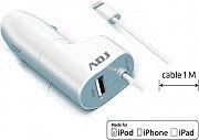 ADJ 110-00079 Caricabatterie da Auto 12 V con connettore USB e Lightning