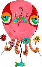 ALLEN DESIGNS Orologio da Parete con Pendolo in Resina - P1154 Floral Octopus