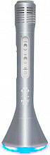 Akai MIC02 Microfono con Speaker Bluetooth Integrato per Karaoke Luci LED Silver