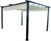 Amicasa G199 Pergola in Alluminio Gazebo 4x3 Copertura Ecrù colore Nero Opaco