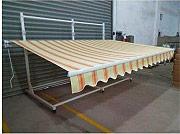 Amicasa Giallo_Crema_3.6x2.5 Tenda da sole a Bracci 3.6x2,5 Metri a Righe colore Giallo  Crema