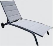 Amicasa LS-TL502 Lettino Prendisole Giardino Alluminio Ruote Grigio Cloè