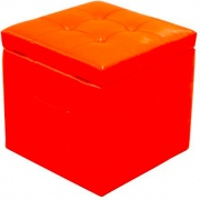 Amicasa Luxury Pouf con coperchio apribile 45 x 45 x 40 cm in ecopelle Rosso
