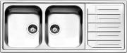 Apell MLE1162IRBC Lavello Cucina Incasso 2 Vasche Gocciolatoio 116cm Acciaio Inox
