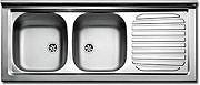 Apell Lavello Cucina Incasso 2 Vasche Gocciolatoio Sx 120 cm Acciaio PI120LPC