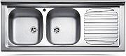 Apell PI120RPC Lavello Cucina Appoggio 2 Vasche Gocciolatoio Dx 120 cm Acciaio