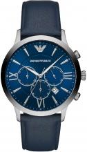 Armani AR11226 Orologio Uomo Acciaio Analogico Cronografo Cinturino in Pelle Blu