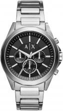 Armani Exchange AX2600 Orologio Uomo Acciaio Analogico Cronografo Silver Quadrante Nero
