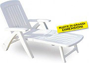 BICA 45 Lettino Prendisole Mare Spiaggia Giardino Plastica 72x190x60 Bianco
