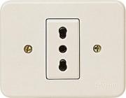 BTICINO S1115N Placca con presa per scatole rotonde Domino 220-250 V Avorio