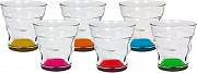 Bialetti Set Tazzine in Vetro 6 tazze con Fondo colorato - BICCHIERINI VETRO