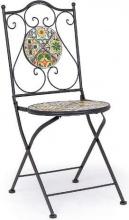 Bizzotto 0806085 Sedia Pieghevole in Acciaio Verniciato Seduta Ceramica  Naxos