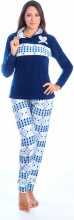 Blanco Raya PT161215-3B Pigiama Donna Invernale Micropile Taglia L Blu