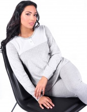 Blanco Raya S8W005 Pigiama Donna Cotone 100% Maglietta e Pantalone Tg. S GrigioBianco