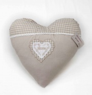 Blanco Raya SD172045 Cuscino Arredo imbottito a forma di cuore 40x40 cm Ecrù